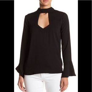 NWT bell Sleeve Mock Neck chest cut out Blouse